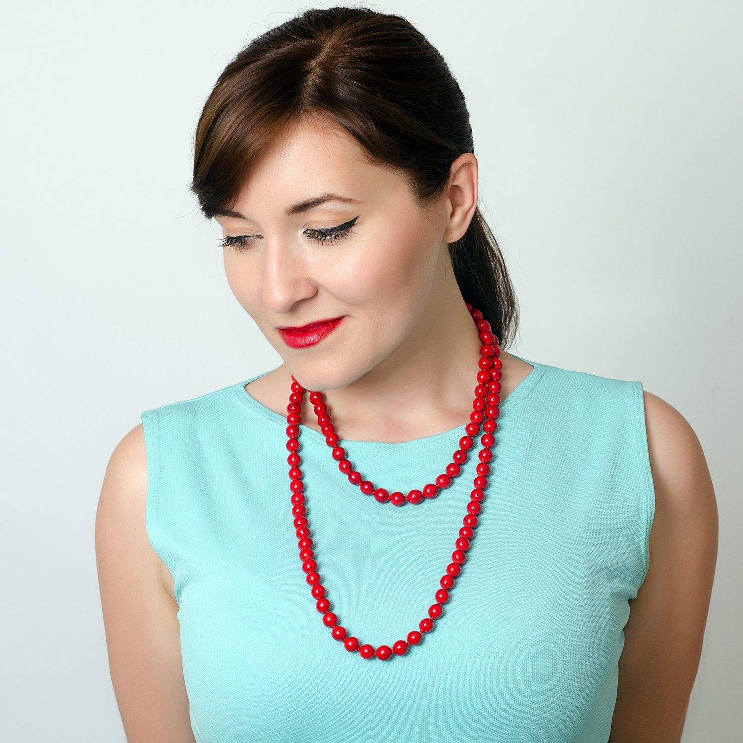 Vintage Style Jewelry, Retro Jewelry Jane Stone Statement Turquoise Bib Round Short Bead Red Double Strand Long Necklace Jewelry for Women Teen Girls $13.99 AT vintagedancer.com