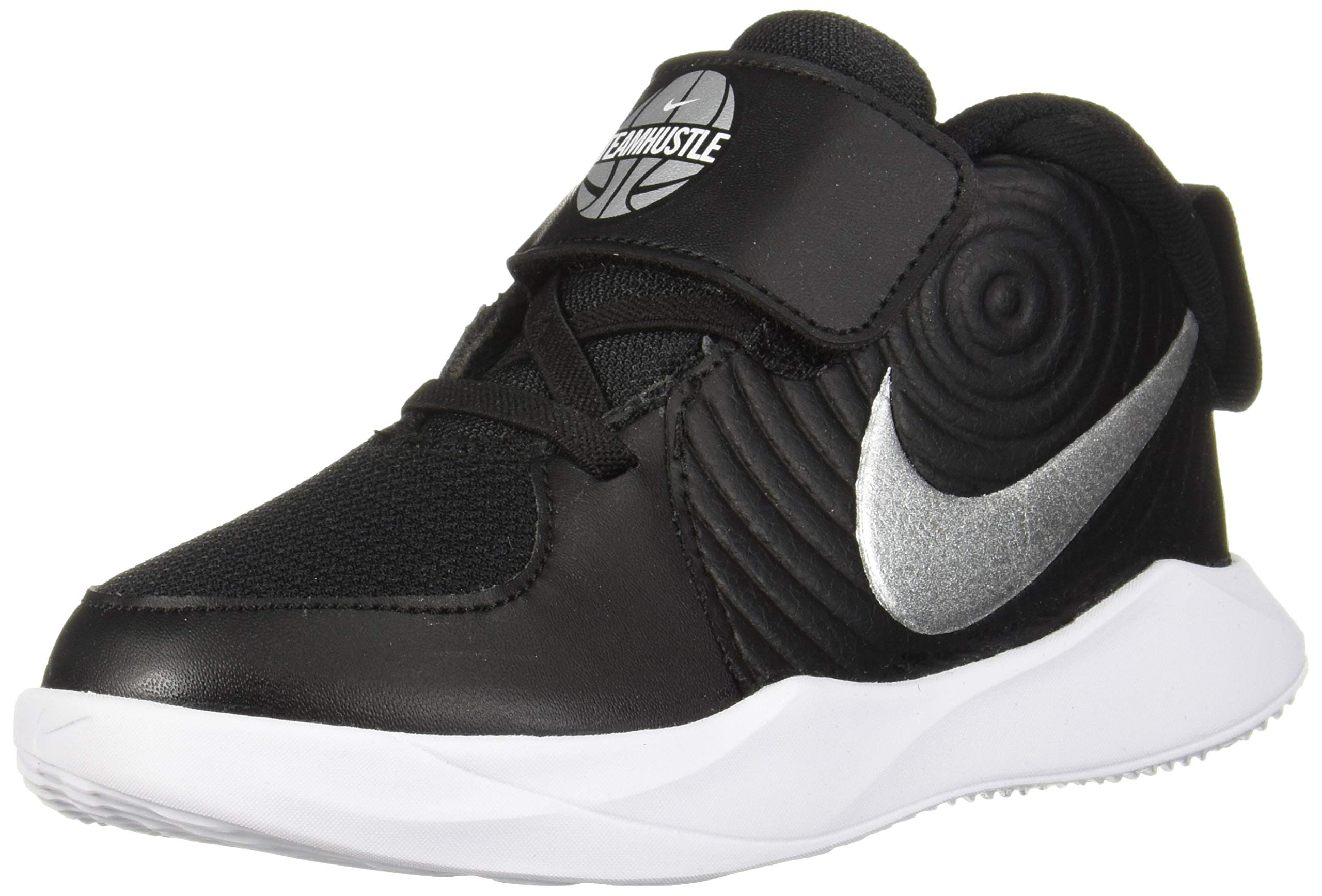 Nike Baby Team Hustle D 9 (TD) Sneaker, Black/Metallic Silver - Wolf Grey, 9C Regular US Toddler