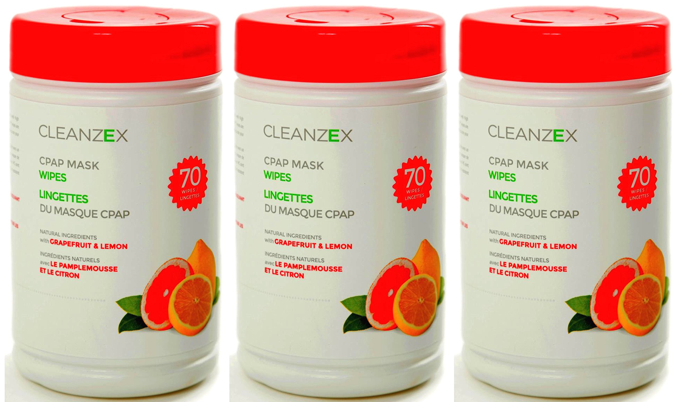 CPAP 210 citrus Scented Wipes - 3-Pack Cleanzex Eco-Friendly, 100% Cotton
