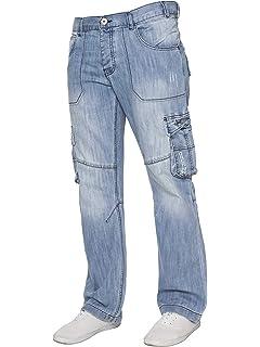 7ffee29a3e0 Ze ENZO Mens Regular Fit Heavy Duty Work Cargo Combat Utility Pants Jeans