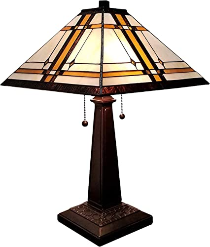 Amora Lighting Tiffany Style Table Lamp Banker Mission 22 Tall Stained Glass White Tan Brown Antique Vintage Light Decor Nightstand Living Room Bedroom Handmade Gift AM1053TL14, 14inch Diameter