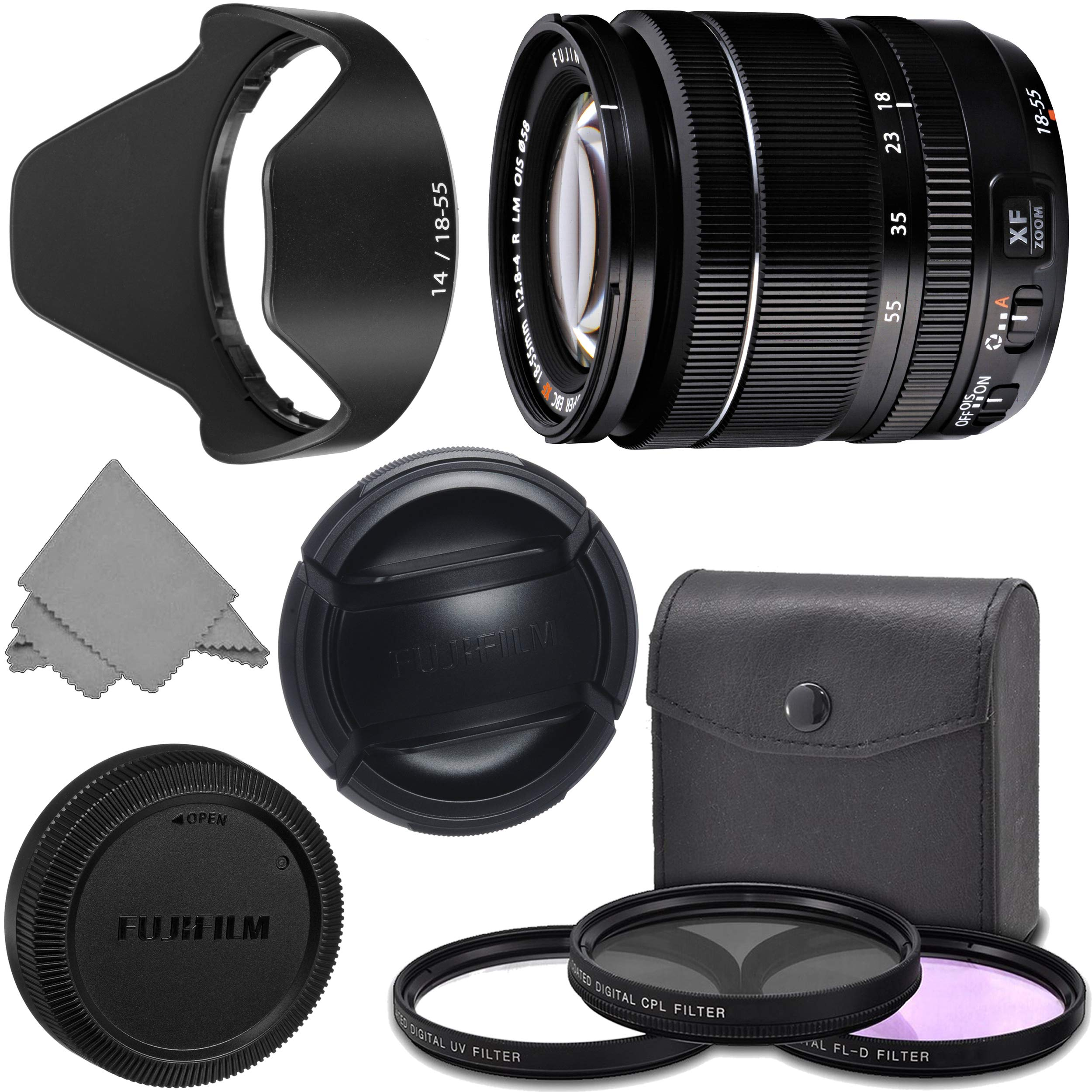 FUJIFILM XF 18-55mm f/2.8-4 R LM OIS Wide Angle Lens (16276479) + AOM Pro Kit Combo Bundle - Fuji 18-55mm X-Mount Zoom Kit Lens - International Version by AOM