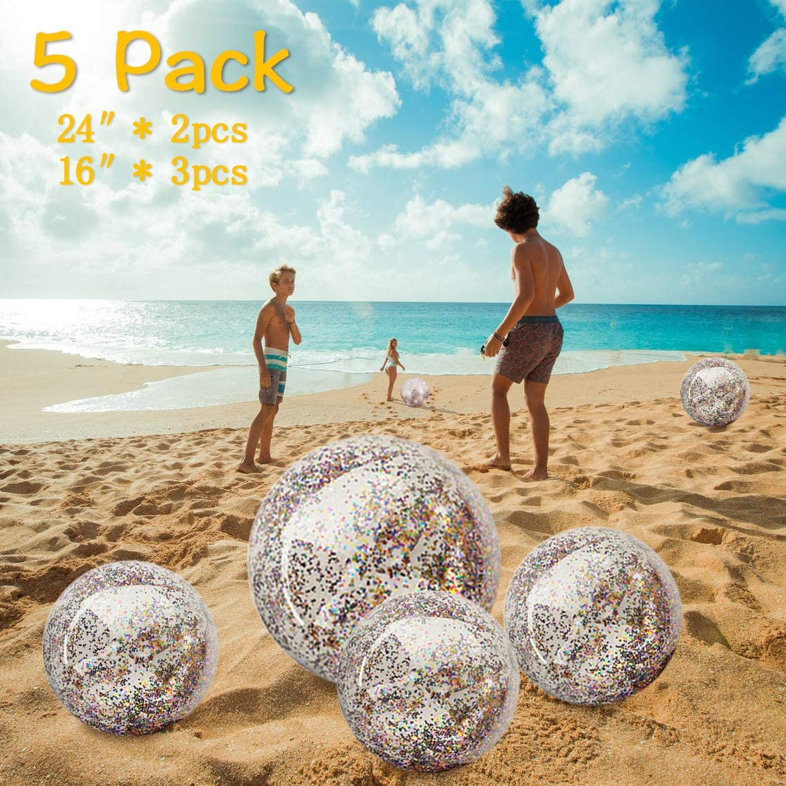 Set of 2 and Gifts Summer Parties Beach Emoji Inflatable Beach Balls Jumbo 20 inch for The Pool