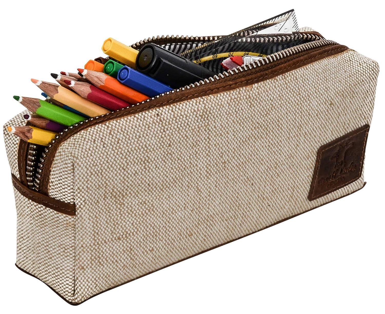 Gusti Leder studio accesorio artículos de papelería Soporte Estuche bolígrafos oficina estilo vintage unisex marrón Lienzo 2s32 – 33 – 10