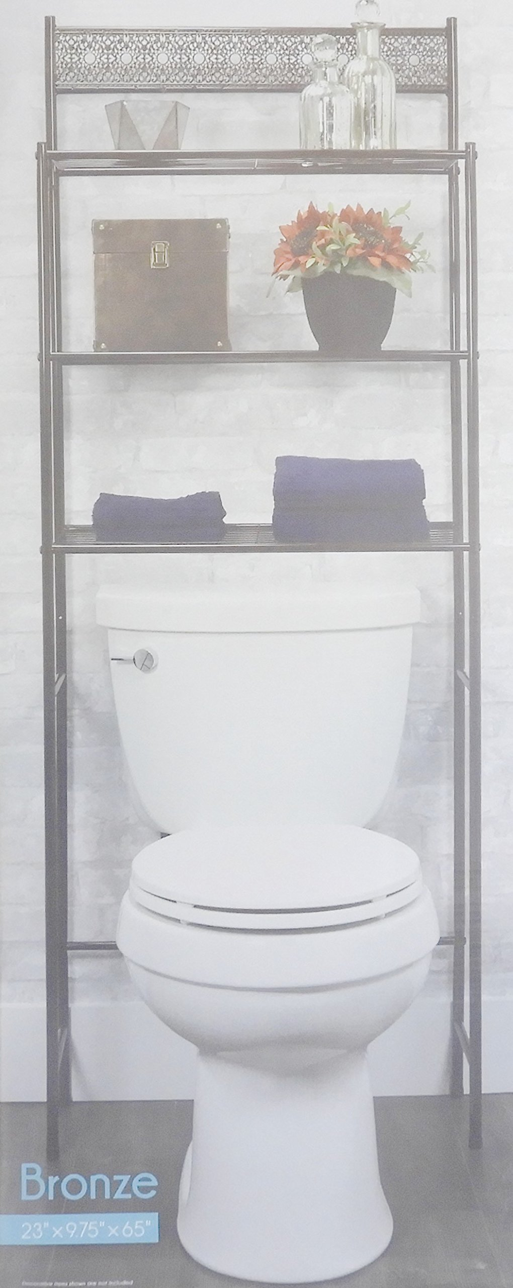 DINY Home Collections 3 Shelf Over The Toilet Spacesaver Easy to Assemble (Bronze) 65'' Tall