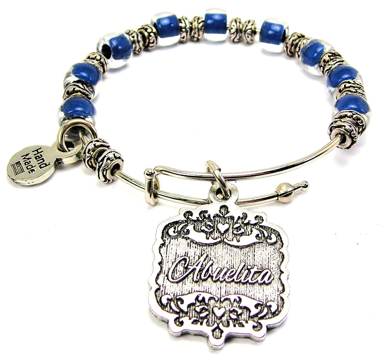 Chubby Chico Charms Abuelita Victorian Scroll Beaded 9MM Bangle Bracelet in Sapphire Blue