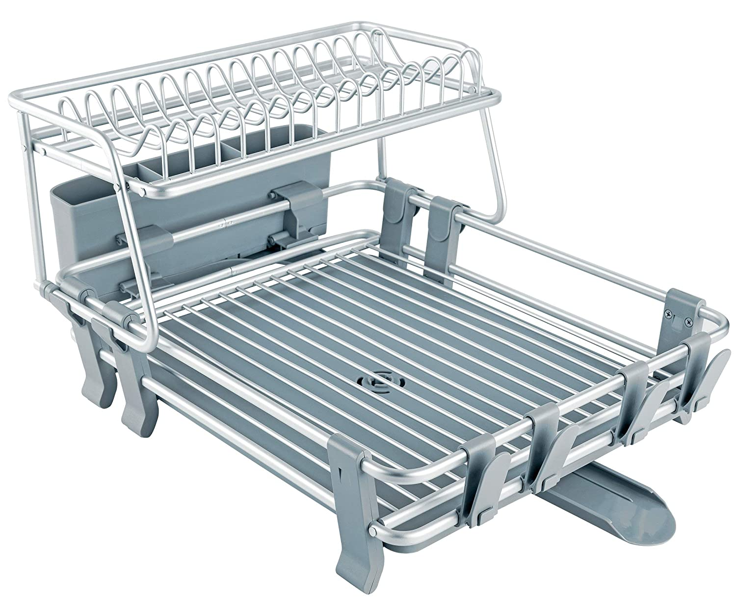 VENETIO ADR-0003 Delux Aluminum Drying Rack 2 Tiers with Removable Dish Drainer Tray 360° Swivel Spout, with Anti-slip Cup Holder for Big Kitchen Counter, 17.7 x 14.2 x 10.24 IN, Gray