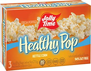 product image for Jolly Time Healthy Pop Kettle Corn - 94% Fat Free Weight Watchers Microwave Popcorn, 3-Count Boxes, 9 oz, (Pack of 12)