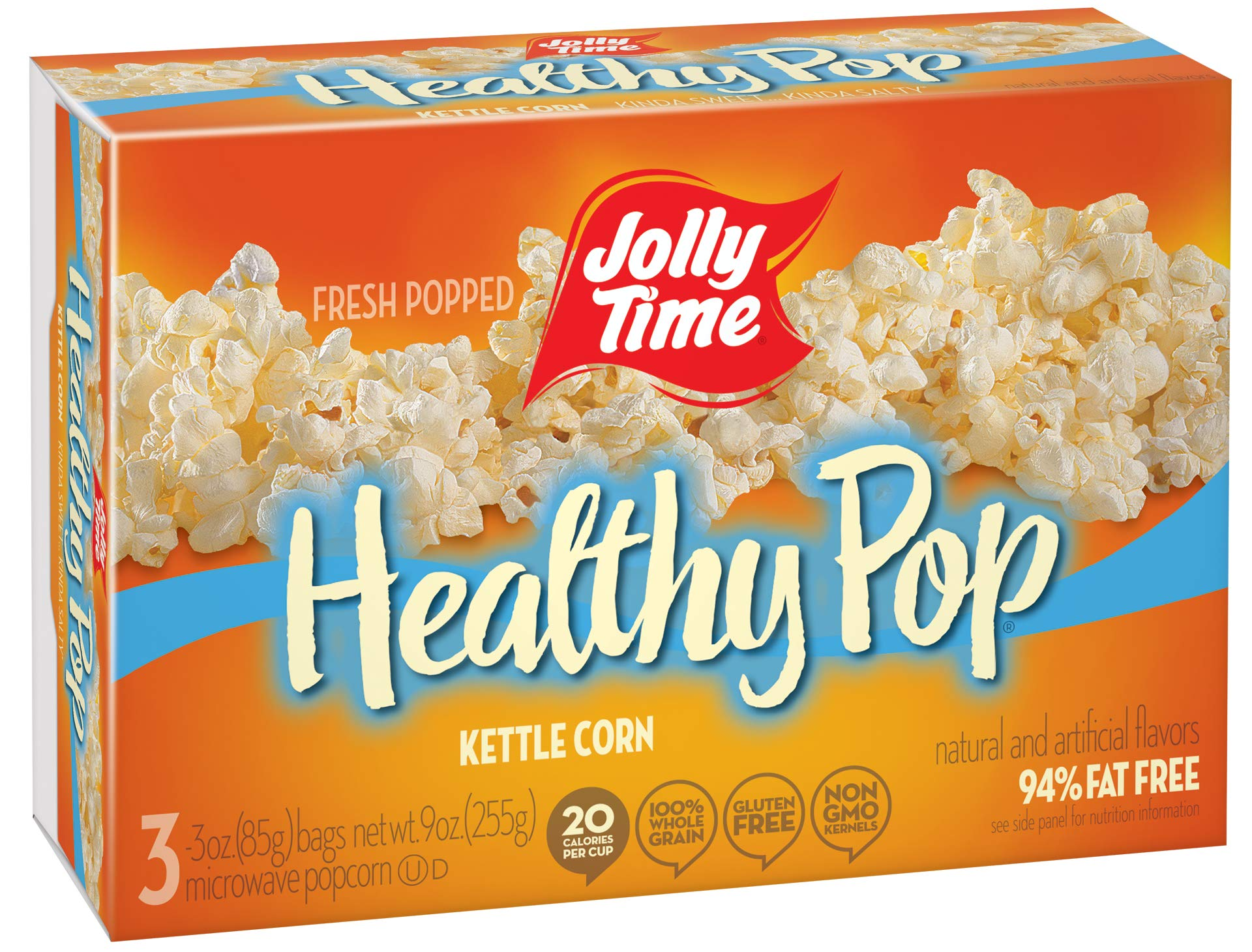 Jolly Time Healthy Pop Kettle Corn - 94% Fat Free Weight Watchers Microwave Popcorn, 3-Count Boxes, 9 oz, (Pack of 12)