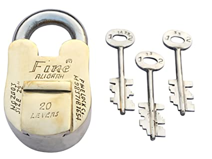Fine Lock 2003 high Quality Brass Padlock Brass Lock finelock with Steel Keys Double Locking System 2003 Aligarh Locks Padlocks