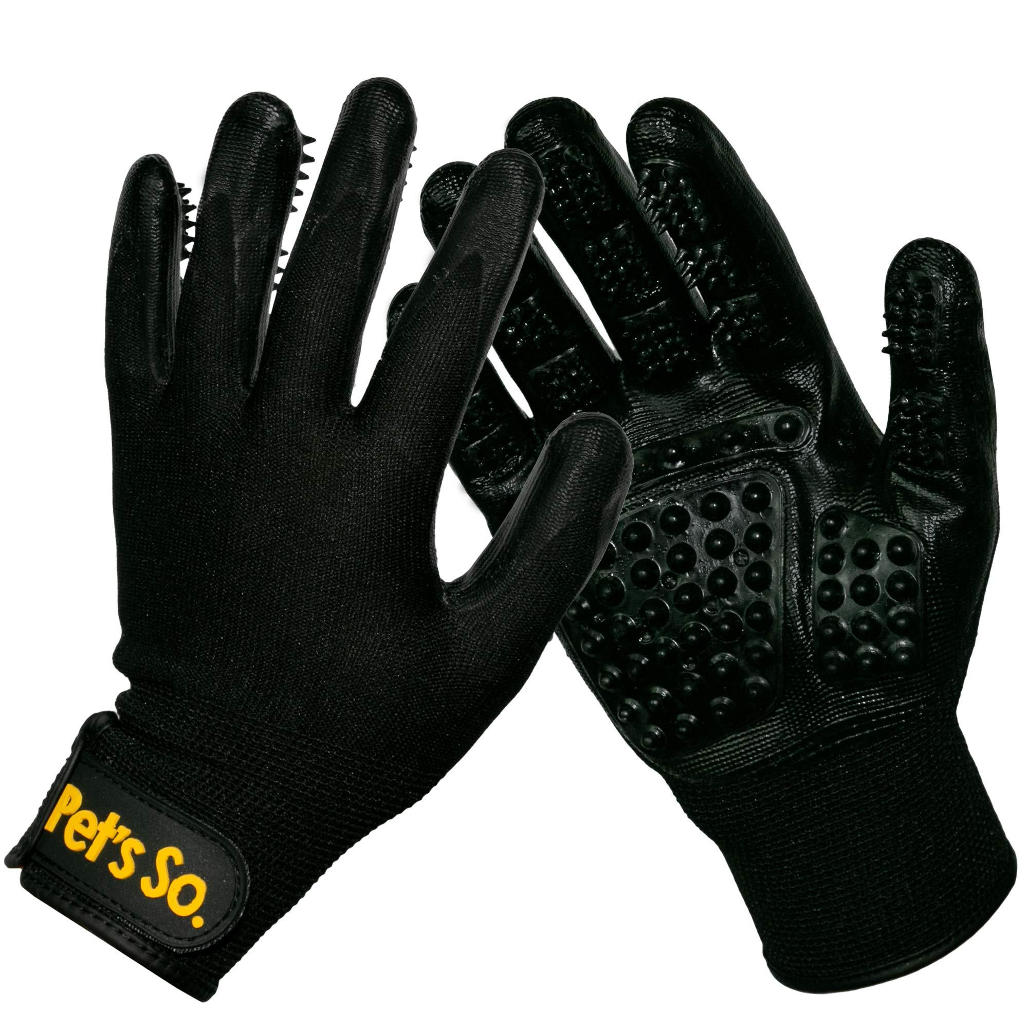 PetsSo. Left & Right Pet Grooming Gloves|Enhanced Five Finger Design|Dog Brush|cat Brush|Horse Brush| Adjustable Wrist Strap|[Size: Medium] by PetsSo.