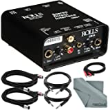 "Rolls DB24 Stereo Direct Interface and Accessory Bundle w/Xpix XLR & 1/4"" TRS Cables + Fibertique Cloth + 2RCA Male Cable"