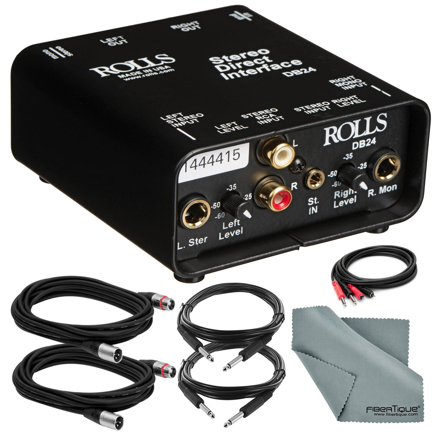 Rolls DB24 Stereo Direct Interface and Accessory Bundle w/ Xpix XLR & 1/4'' TRS Cables + Fibertique Cloth + 2RCA Male Cable by Photo Savings