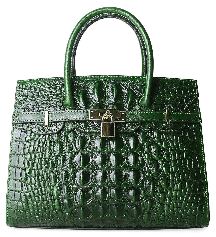 Pijushi Embossed Crocodile Purse Genuine Leather Satchel Handbags Office Padlock Bag Holiday Gift 9016(30cm Green Croco) by PIJUSHI