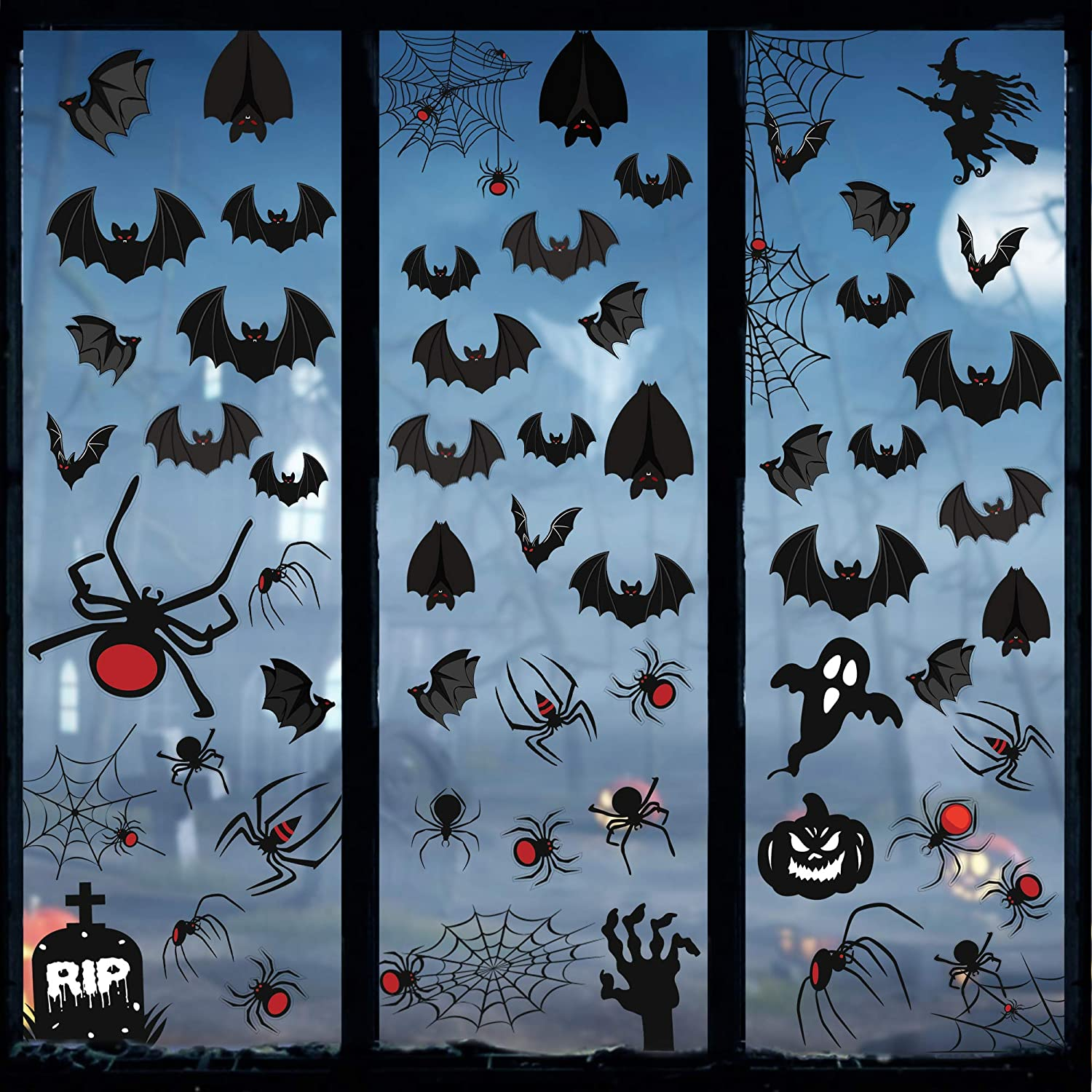 Tifeson Halloween Decorations Window Clings Decals - Large Scary Spider Bat Ghost Window Stickers Decorations for Kids School Home Office Decor, 8 Sheet 108Pcs