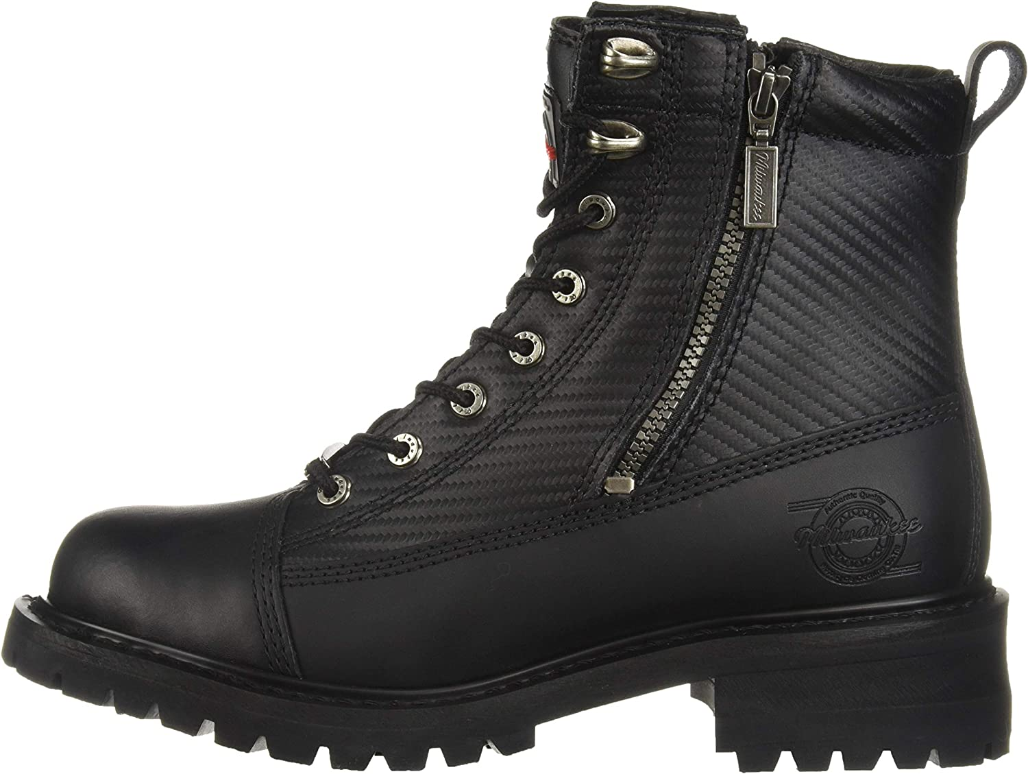 Milwaukee Motorcycle Clothing Company Accelerator Leather Mens Motorcycle Boots Black, Size 8D