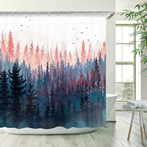 Stacy Fay Misty Forest Natural Scenery Shower Curtain, Black Forest Fog Bird Mountain, Waterproof Polyester Bathroom Decor 72 X 72 Inch