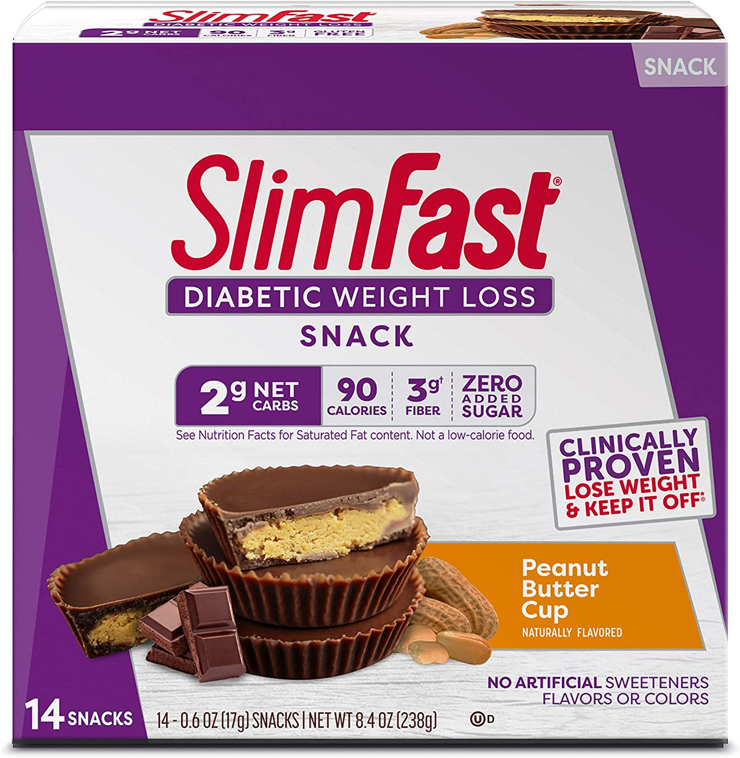 SlimFast Diabetic Weight Loss Snack, Peanut Butter Cup (14 Count of 0.6 Oz Cups Each), 8.4 Oz