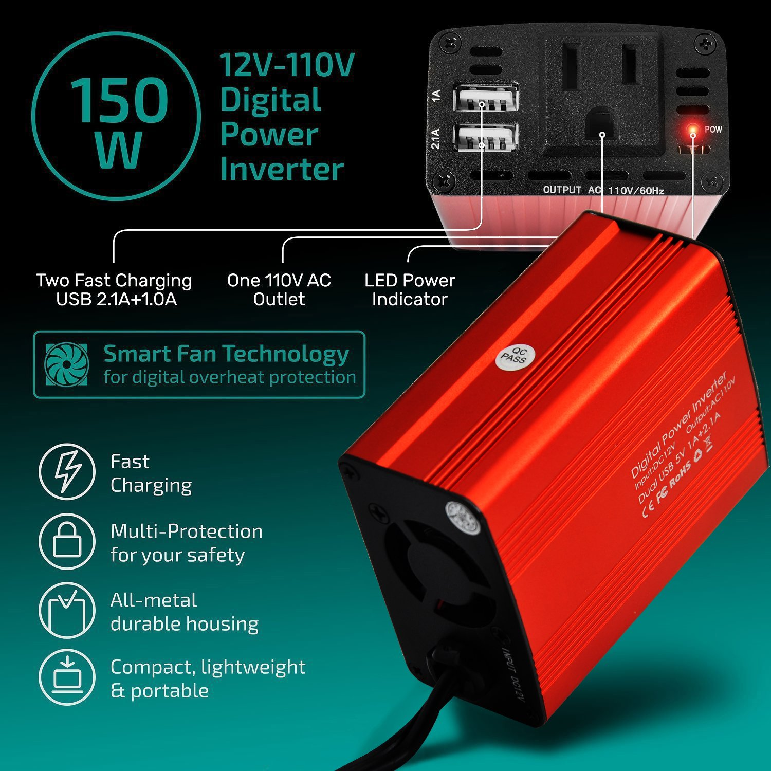 Fantasi Car Power Inverter Car Charger 150W DC 12V to 110v AC Car Inverter with 3.1A Dual USB Charger (Red) (Red) by Fantasi (Image #2)