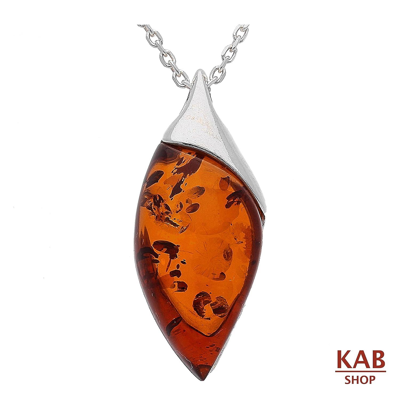 KAB-85 Pendentif ambre de la Baltique en argent sterling 925