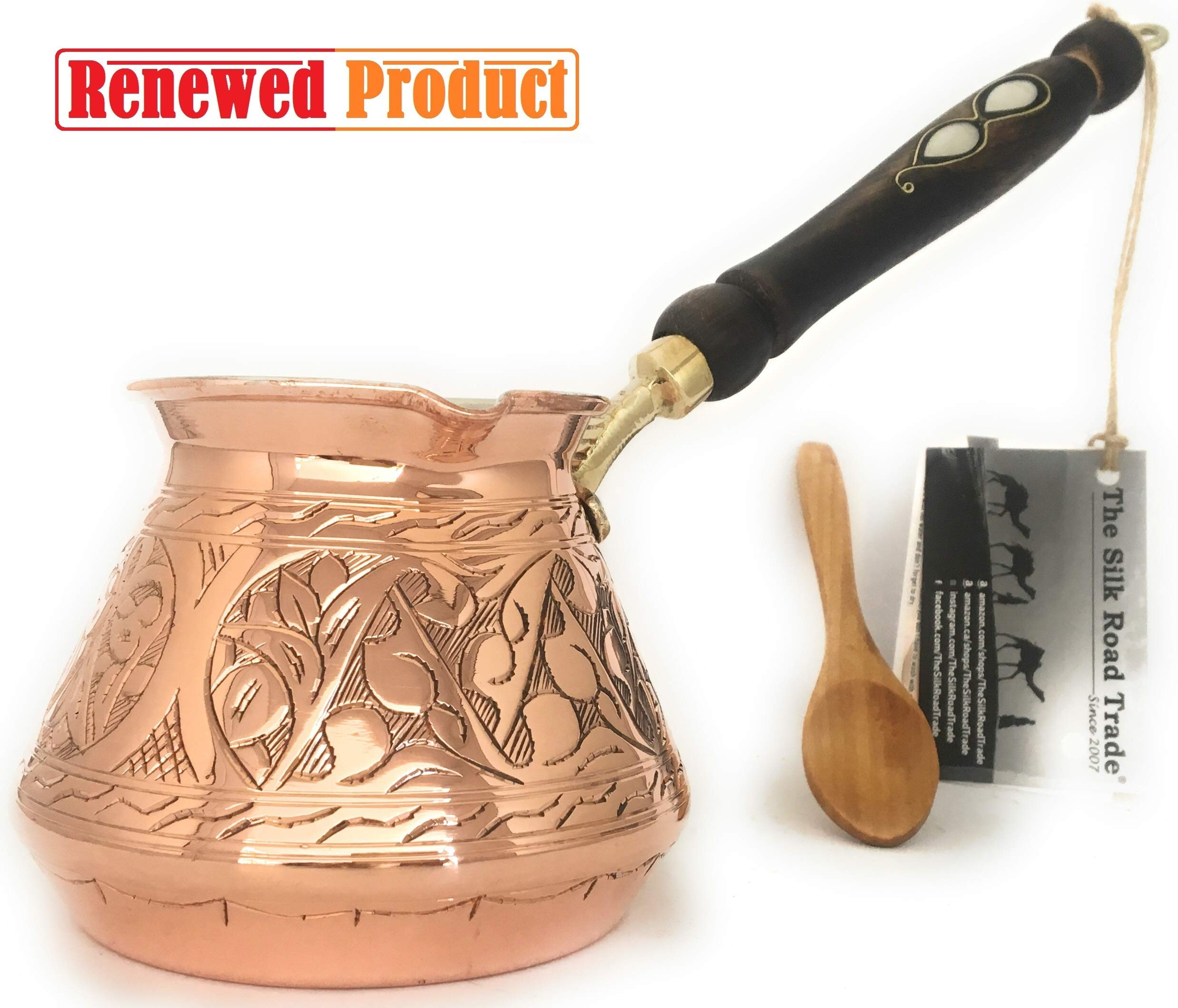 The Silk Road Trade - ACI Series (Large) - Thickest Solid Hammered and Engraved Copper Turkish Greek Arabic Coffee Pot / Coffee Maker Cezve Ibrik Briki with Wooden Handle (18 fl oz) by The Silk Road Trade (Image #1)