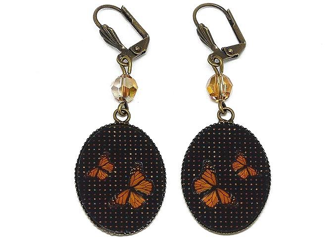 nuovo concetto moda più desiderabile godere del prezzo di liquidazione Orecchini retro Farfalla arancio nero resina ottone bronzo ...