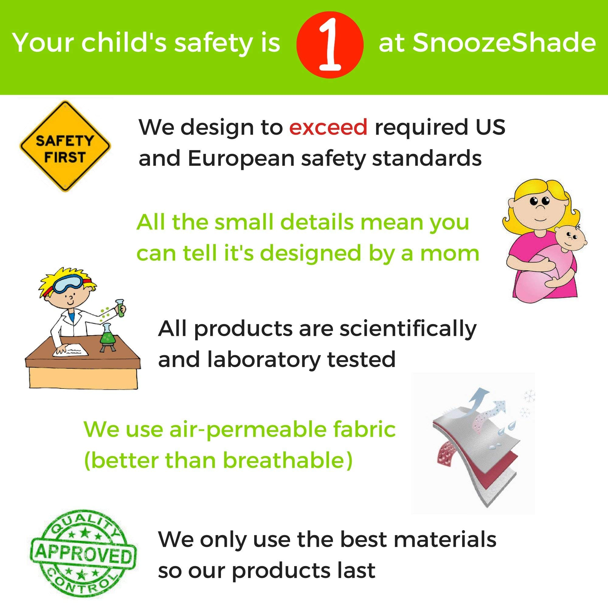 SnoozeShade Plus Deluxe | Universal fit sun shade for strollers | 360-degree sun and UV protection | Sleep shade and mosquito net | Recommended for 6m+ by SnoozeShade (Image #5)