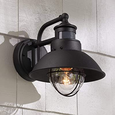 Oberlin Rustic Outdoor Wall Light Black Exterior Fixture Motion Security Dusk to Dawn