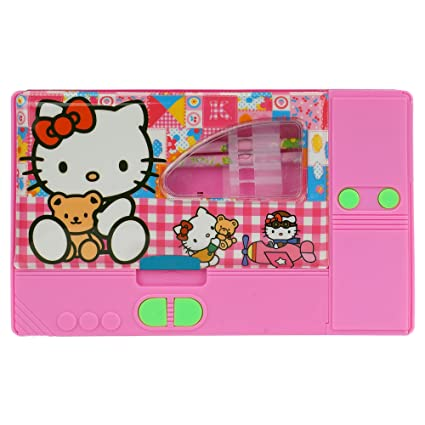 Asera Pink Hello Kitty Jumbo Pencil Box For Girls With Two Pencils And Key Chain
