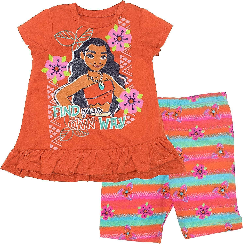 Disney Moana Toddler Girls' Ruffle Tunic and Bike Short Set Orange 00_ONQENNZG_02