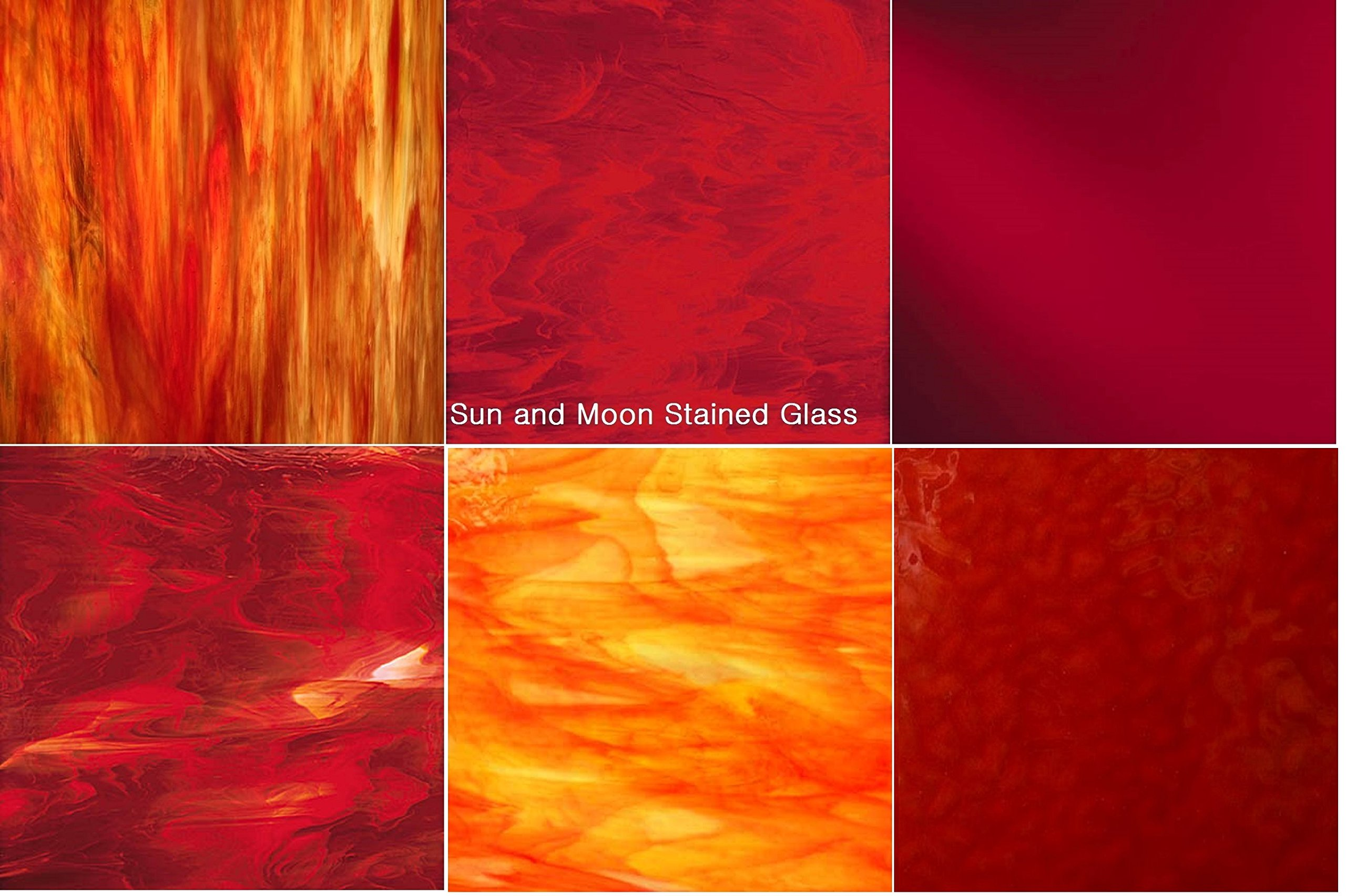 8''x5'' RED Variety Pack Stained Glass Sheets (6 Pieces) by Sun and Moon Stained Glass (Image #1)