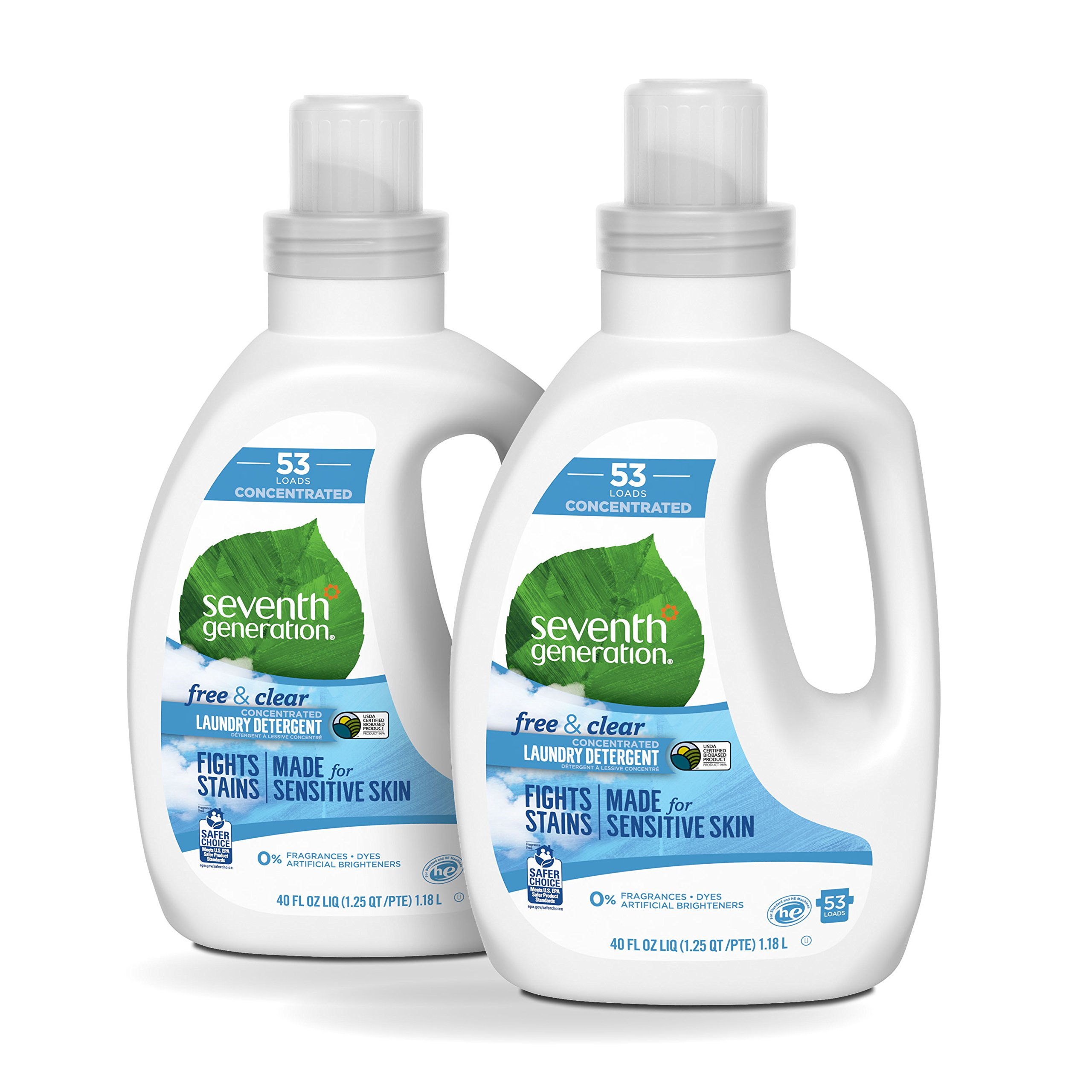 Seventh Generation Concentrated Laundry Detergent, Free & Clear, 40 oz (2 Pack)