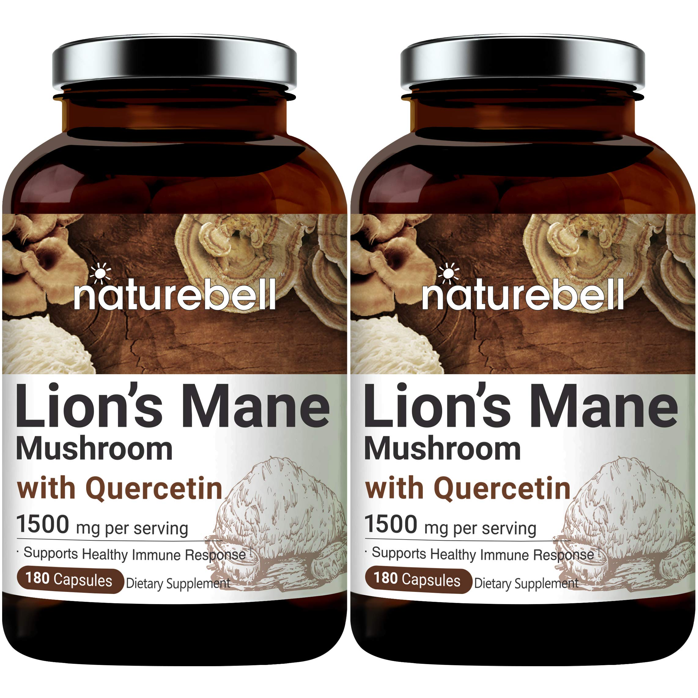 NatureBell Lions Mane (Made with Organic Lions Mane Mushroom), 1500mg Lion's Mane Plus 25mg Quercetin Per Serving, 180 Capsules, Strongly Supports Immune System and Brain Health, Non-GMO, Pack of 2