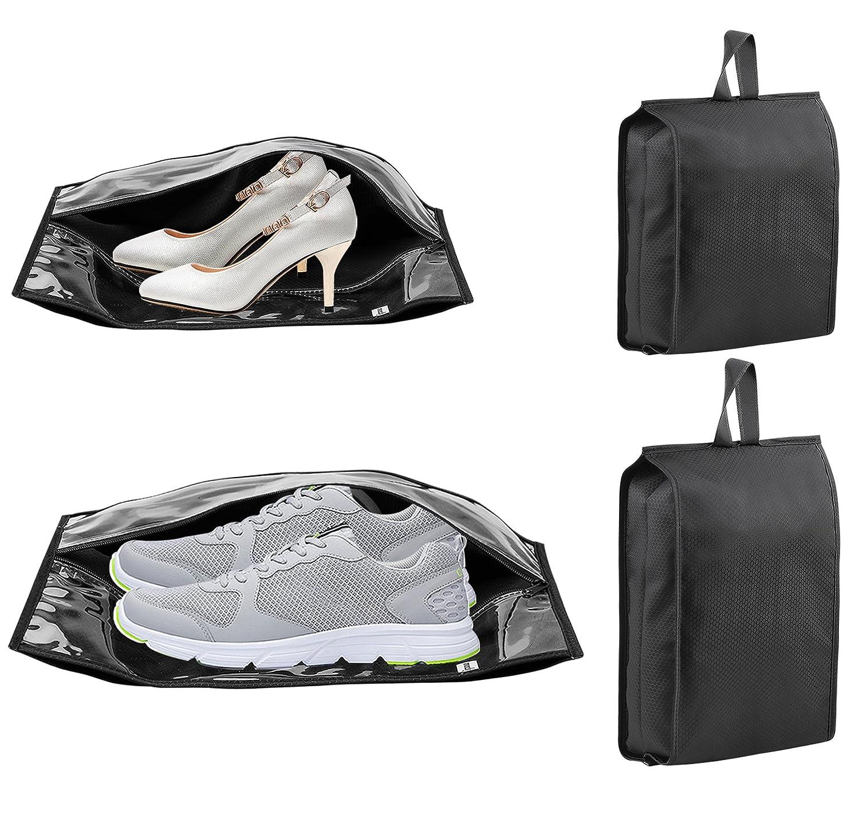 4パックIpow旅行靴バッグ防水ナイロンWファスナー透明ウィンドウデザイン、メンズ&レディース用靴ストレージ組織、2標準+ 2 XLサイズ   B074C4JFL5