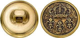 product image for C&C Metal Products 5295 Crown And Fleur De Lis Metal Button, Size 24 Ligne, Antique Gold, 72-Pack