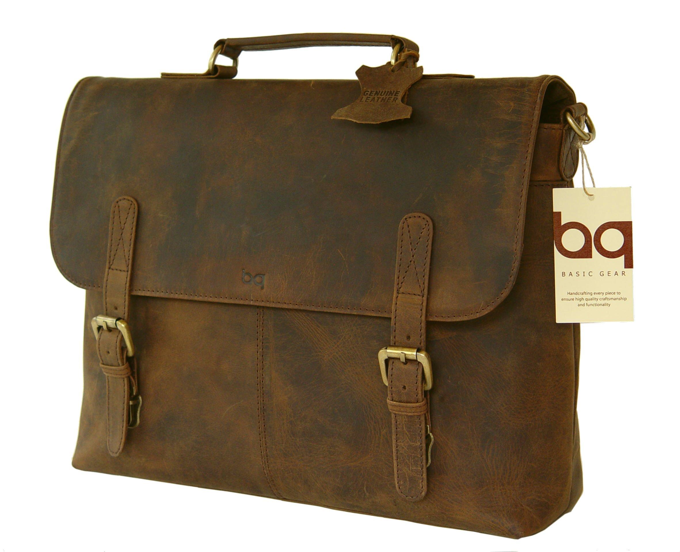 BASIC GEAR Crazy Horse Leather Flap-Over Laptop Messenger Bag in Vintage Rustic look