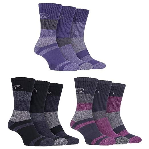 3 pares calcetines con suela acolchada para señora, antiampollas, ligero, transpirable, hecho de algodón, para andar en verano o irse de ruta, de Storm Bloc ...
