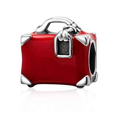 Red Enamel Suitcase Charm Solid 925 Sterling Silver Travel Bag Bead Charms for Lady's Bracelet wGC54KIKxw
