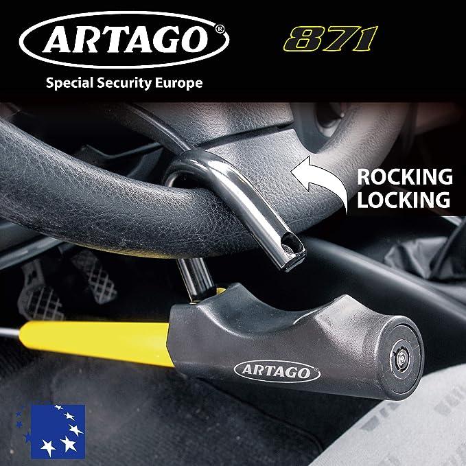 Artago 871A/B Barra Antirrobo Coche Volante Pedal Cierre Basculante y Enganche fácil: Amazon.es: Coche y moto