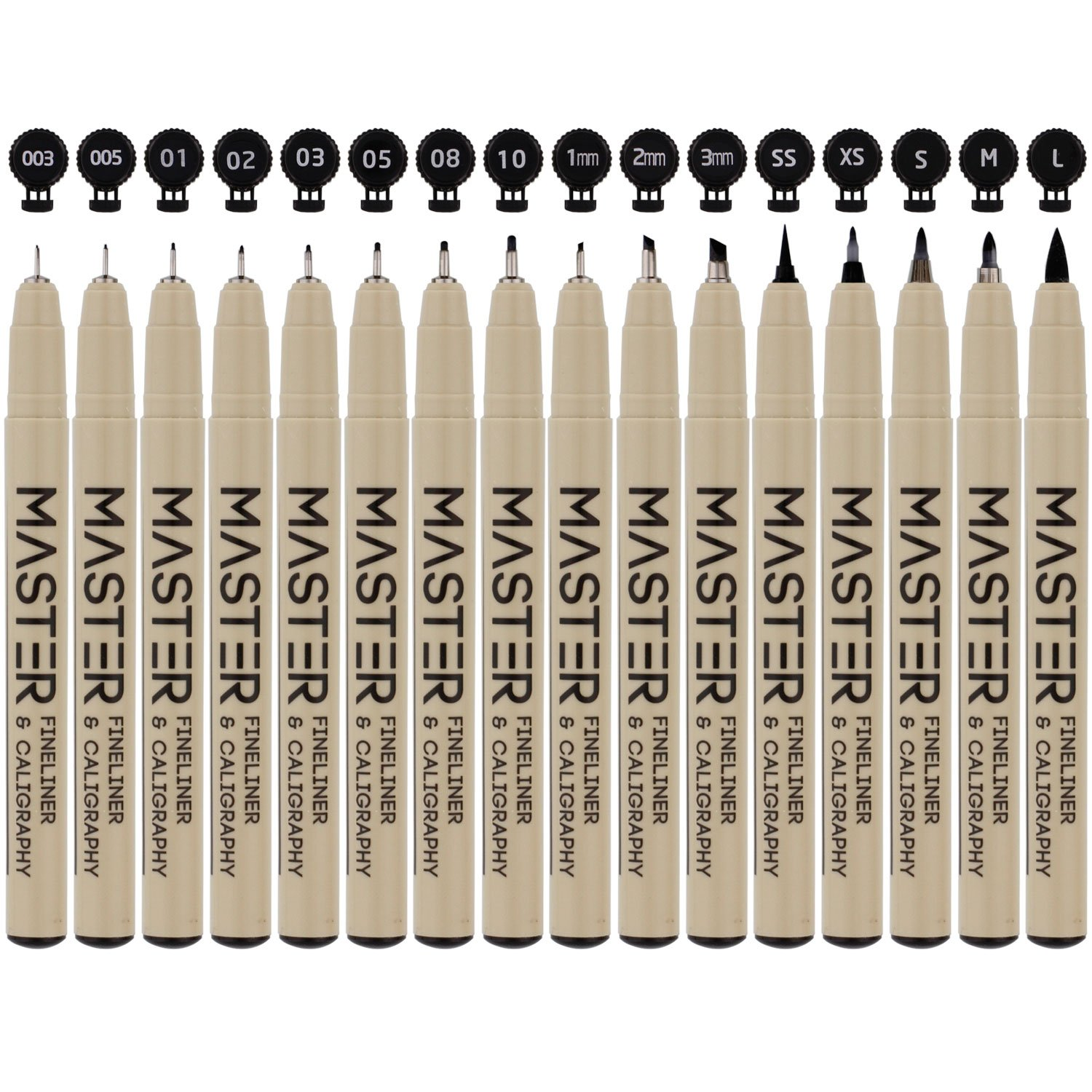 Set of 32 Unique Black and Colored Master Markers Micro-Pen Fineliner Ink Pens - 11 Vibrant Colors & 21 Black Micro Fine Point, Chisel, Brush & Calligraphy Tip Nibs - Artist Illustration Drawing by Mastermarkers (Image #4)