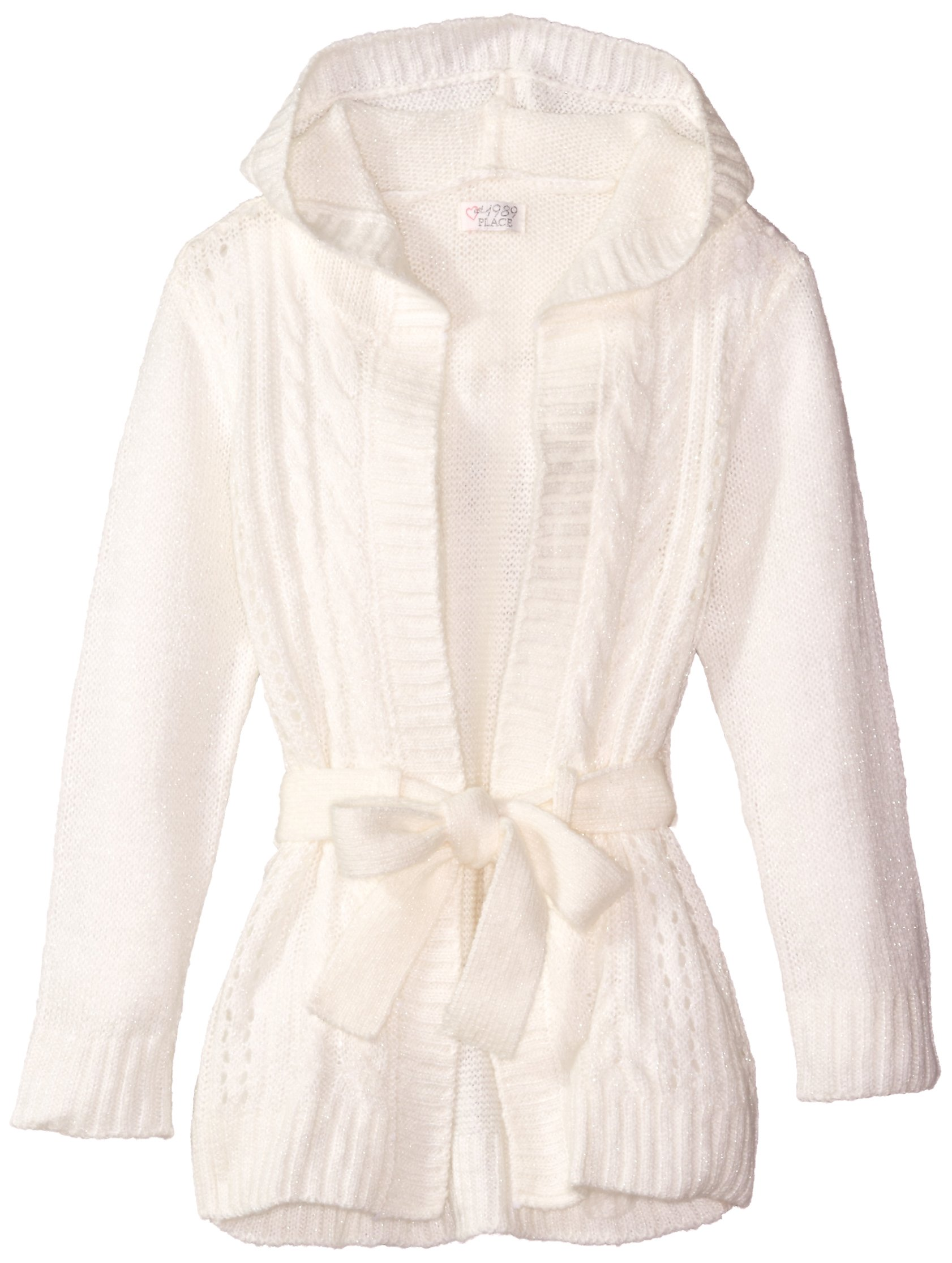 The Children's Place Little Girls' Hoodie Sweater Coat, Cloud, X-Small/4
