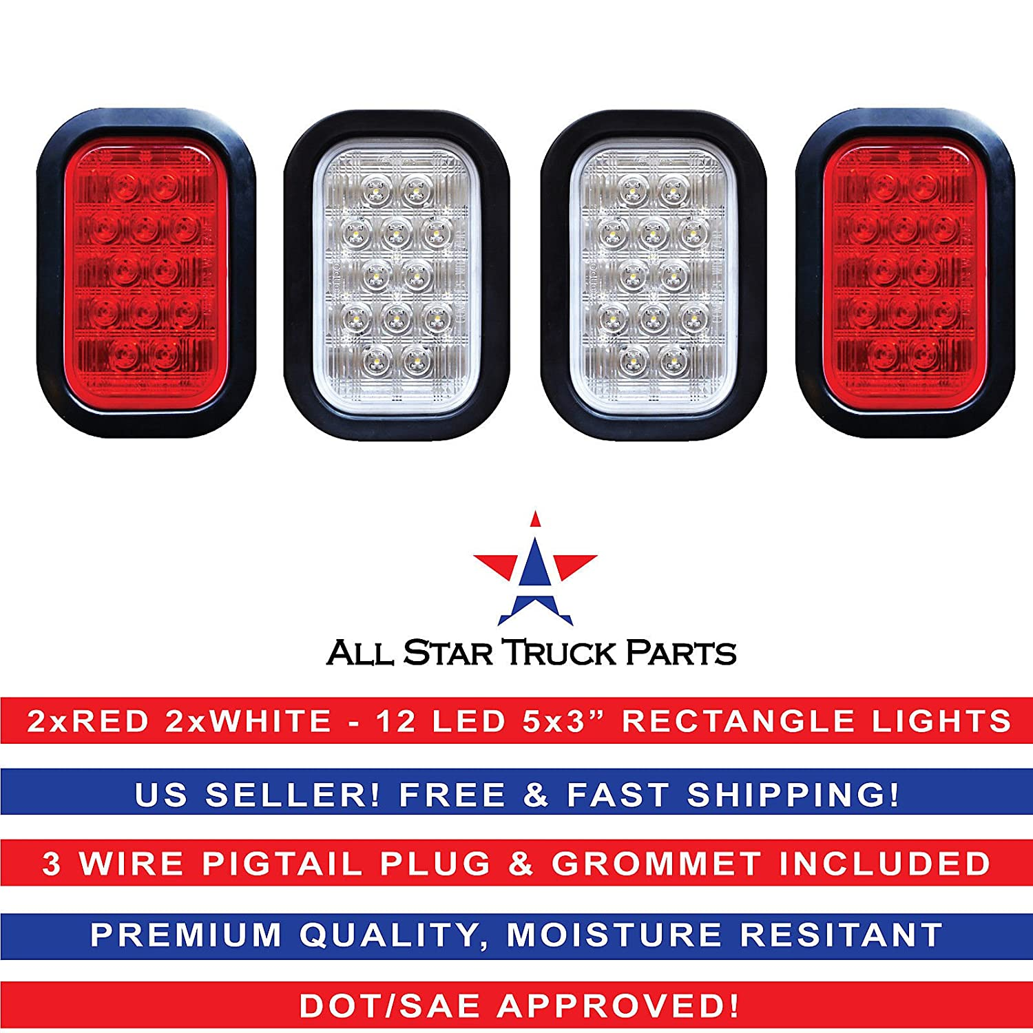 [ALL STAR TRUCK PARTS] 5x3' 2x Red 2xWhite Rectangle 12 LED Stop/Turn/Tail & Backup/Reverse Truck Trailer Hitch Light Grommet Wire Kit