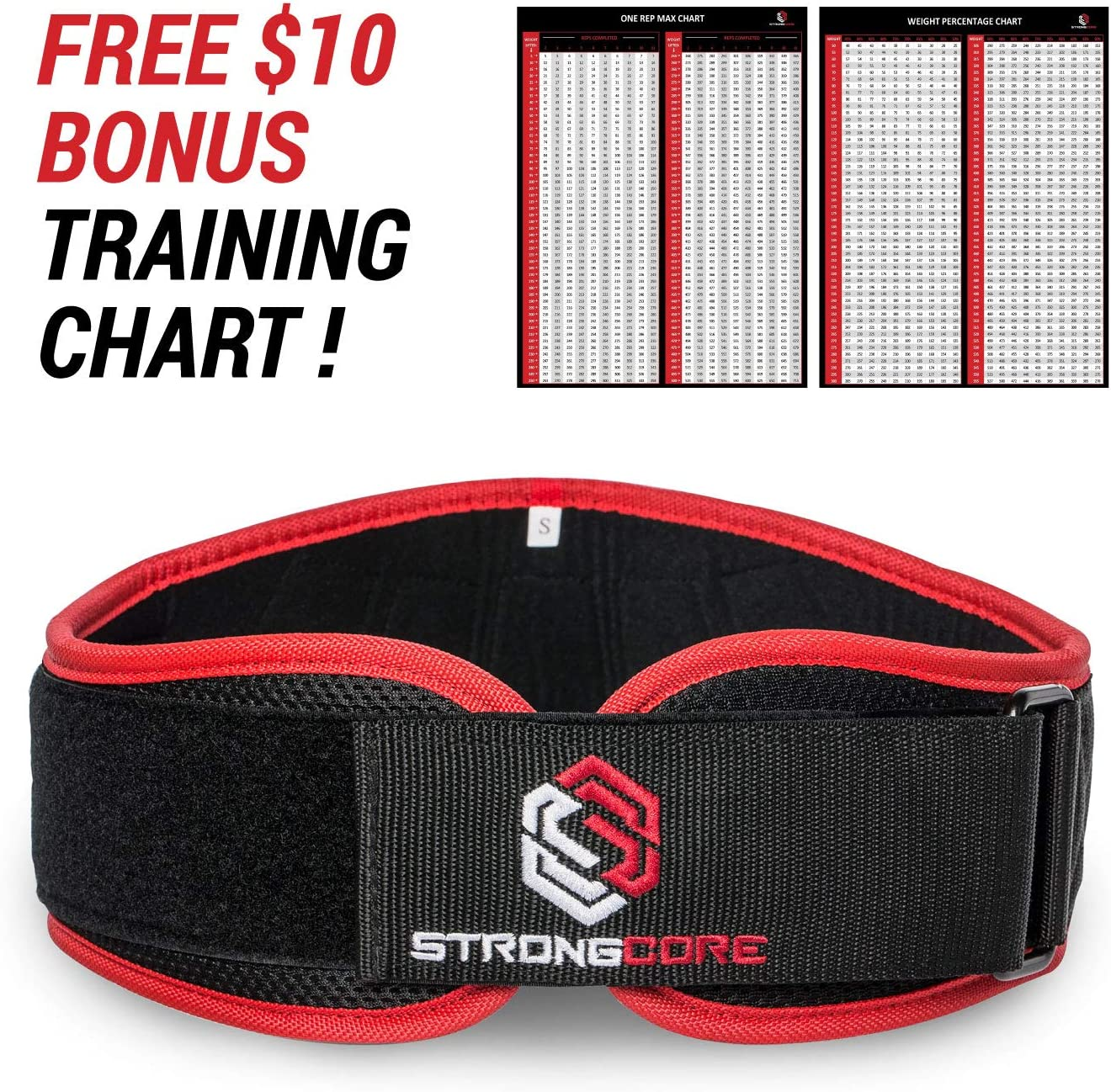 Weightlifting Belt – with Free Bonus Training Chart – Premium Quality Weight Lifting Belt for Powerlifting, Weight Lifting and Crossfit