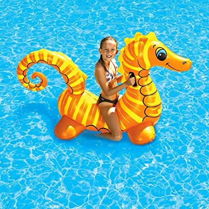 Amazon.com: Piscina Flotador inflable Ride-on caballo de mar ...