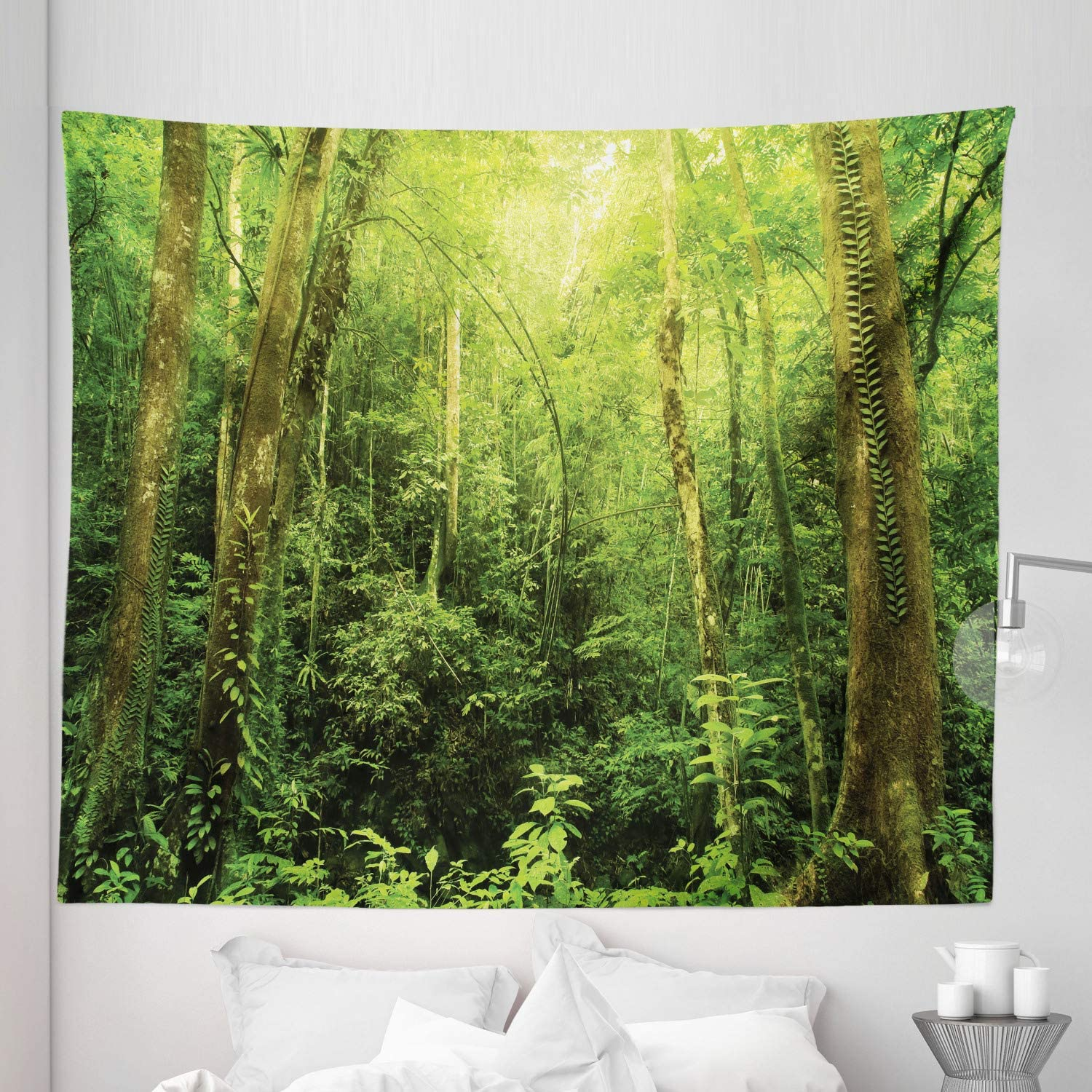 """Ambesonne Rainforest Tapestry King Size, Tropical Rainforest Landscape Malaysia Asia Green Tree Trunks Uncultivated Wood Print, Wall Hanging Bedspread Bed Cover Wall Decor, 104"""" X 88"""", Green"""
