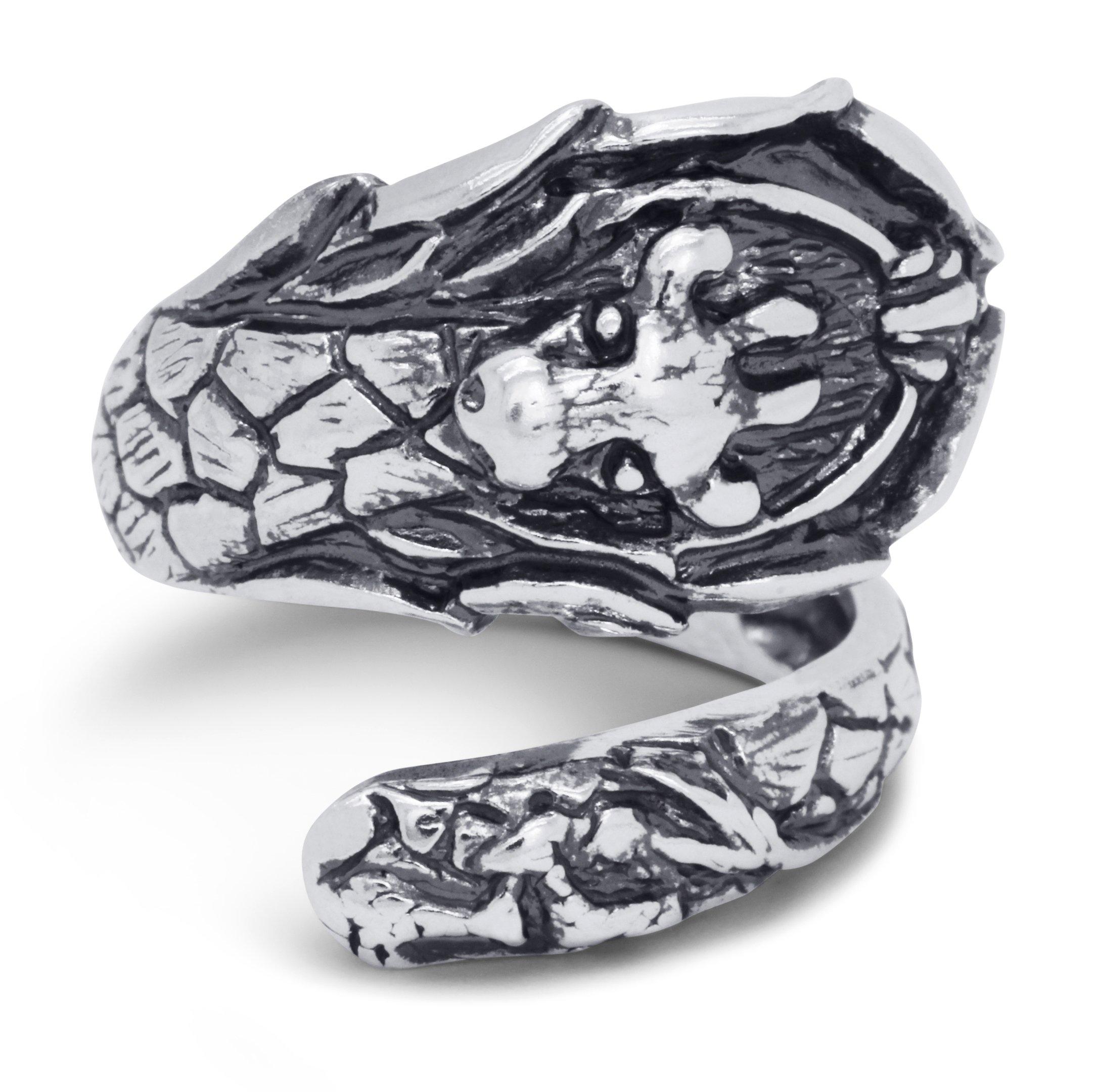 Silver-Wear Swirls Sterling Silver Antique Finish Serengeti Giraffe Spoon Style Ring