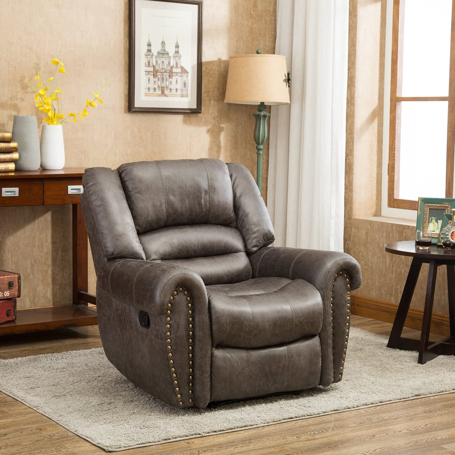 BONZY Oversized Recliner Leather Lounge Chair luxury