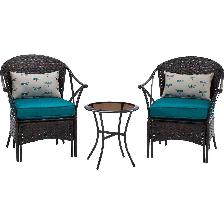 Amazon.com: Mainstays 5 Piece Skylar Glen Outdoor Leisure Set, Blue, Seats  2: Kitchen U0026 Dining