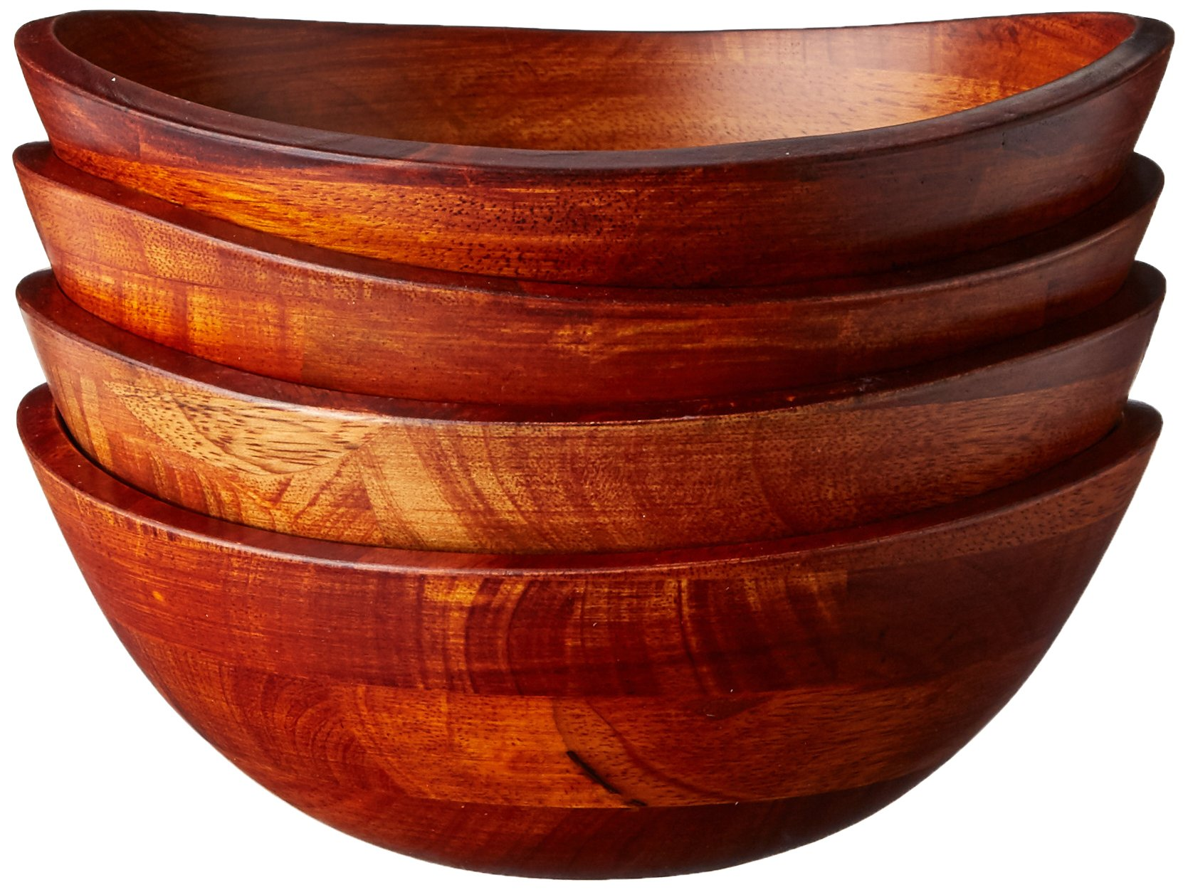 Lipper International 293-4 Cherry Finished Wavy Rim Serving Bowls for Fruits or Salads, Matte, Small, 7.5'' x 7.25'' x 3'', Set of 4 Bowls