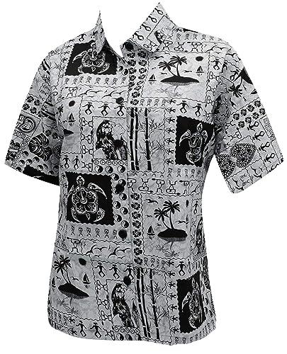 LA LEELA Hawaiano Cuello Boy Friend Camisa para Mujer de Las Blusas de Manga Corta Ropa de Playa Oca...